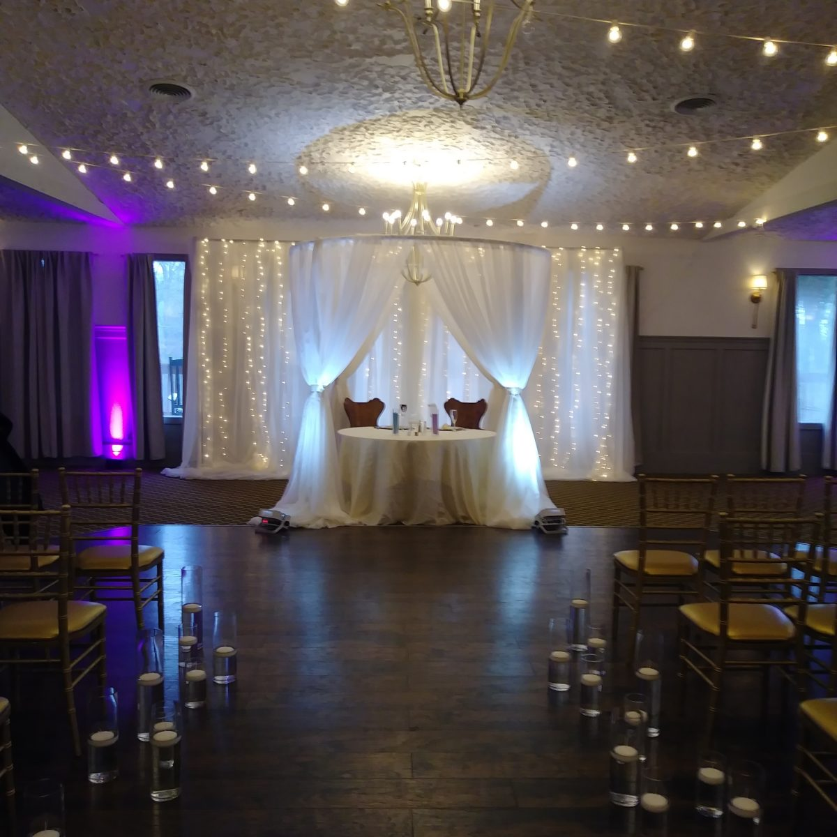 wedding pipe and drape event decor at landoll castle in columbus ohio