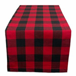 buffalo plaid table runner for rent in columbus ohio at advantage events