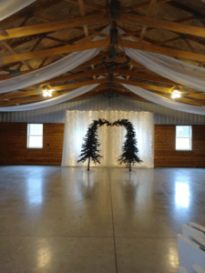 tree arbor and winter wedding decor in columbus ohio at advantage events